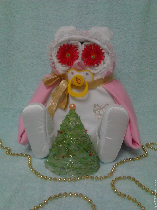 """Подарки для новорожденных, ручной работы. Ярмарка Мастеров - ручная работа. Купить Торт из памперсов """"Совушка"""". Handmade. Комбинированный, пелёнка"""