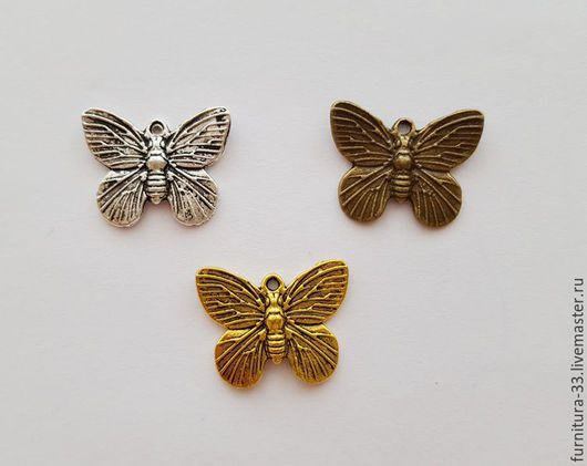 Для украшений ручной работы. Ярмарка Мастеров - ручная работа. Купить Подвеска бабочка 19х15 мм Три цвета. Handmade.