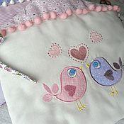 Для дома и интерьера ручной работы. Ярмарка Мастеров - ручная работа Бортики-домики в кроватку для новорожденного с вышивкой. Handmade.