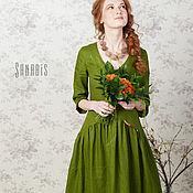 Одежда ручной работы. Ярмарка Мастеров - ручная работа Платье из льна «Прекрасное зеленое». Handmade.