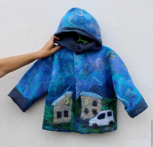 """Одежда для мальчиков, ручной работы. Ярмарка Мастеров - ручная работа. Купить Детская курточка """"Город. Машины"""". Handmade. Тёмно-бирюзовый"""