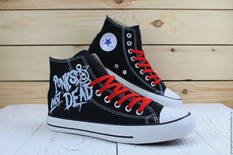 d3cdd1803a0e Обувь ручной работы. Ярмарка Мастеров - ручная работа. Купить Высокие кеды  Converse «Punks ...