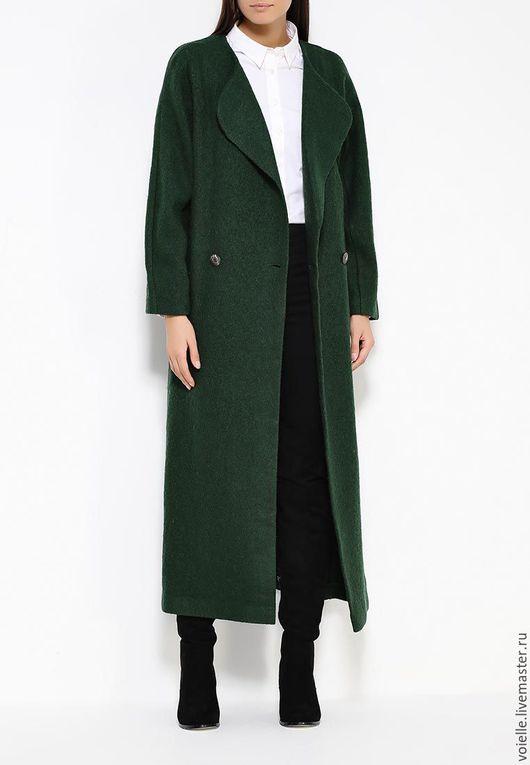 пальто-халат демисезонное женское на весну, на осень, без подкладки темно зеленое необычное, на двух пуговицах