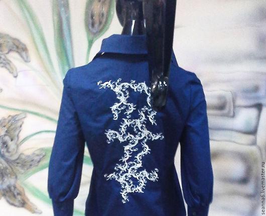 """Блузки ручной работы. Ярмарка Мастеров - ручная работа. Купить Роскошная блузка с вышитой спинкой """"Синее серебро"""" в любом цвете, разм. Handmade."""