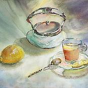 Картины и панно ручной работы. Ярмарка Мастеров - ручная работа Акварель. Чай с лимоном.. Handmade.