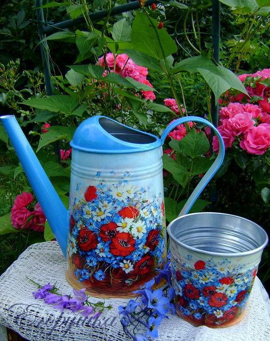"""Лейки ручной работы. Ярмарка Мастеров - ручная работа. Купить Лейка  """"Цветы полевые""""+ кашпо в подарок. Handmade. Лейка, для цветов"""