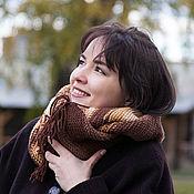 Аксессуары ручной работы. Ярмарка Мастеров - ручная работа Вязаный шарф снуд хомут коричневый бежевый шоколадный молочный желтый. Handmade.