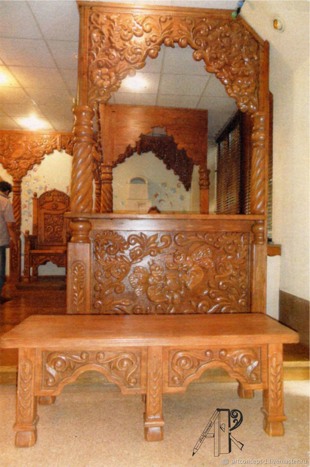 Bench made of solid pine with hand carved in folk style, Stand, Ryazan,  Фото №1