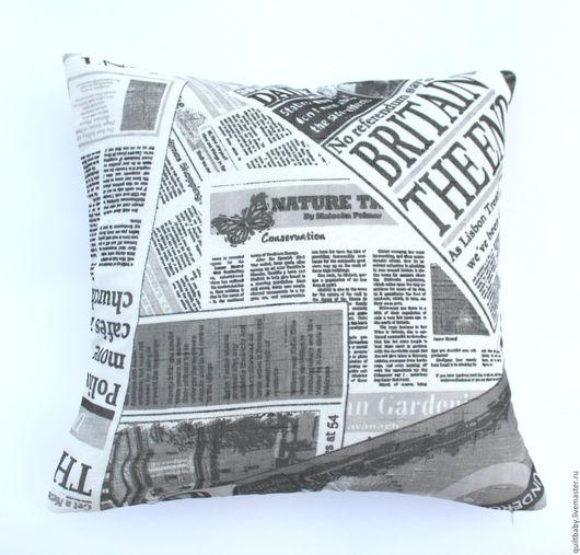 """Текстиль, ковры ручной работы. Ярмарка Мастеров - ручная работа. Купить Декоративная подушка """"Газета"""", 45х45. Handmade. Чёрно-белый"""