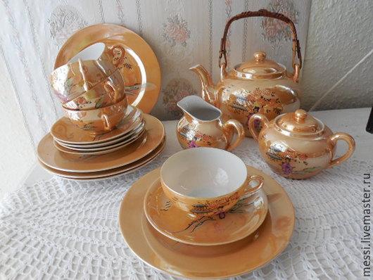 Винтажная посуда. Ярмарка Мастеров - ручная работа. Купить Сервиз чайный на 5 персон, костяной фарфор,  винтаж, Япония. Handmade.