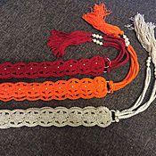 Аксессуары handmade. Livemaster - original item Knitted belt with tassels.. Handmade.