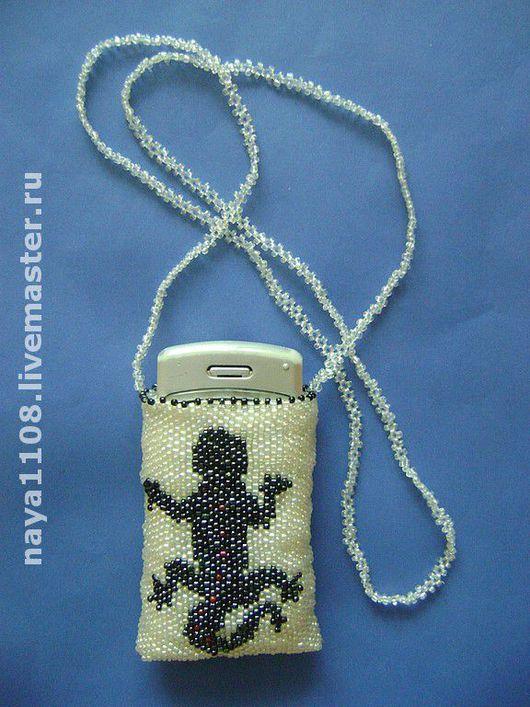 """Для телефонов ручной работы. Ярмарка Мастеров - ручная работа. Купить Сумочка для мобильного телефона """"Саламандра"""". Handmade. Бисер"""