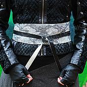 Аксессуары handmade. Livemaster - original item Waist belt made of genuine leather Python Black white. Handmade.