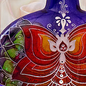 Посуда ручной работы. Ярмарка Мастеров - ручная работа Бутылка Медитация, витражная роспись. Handmade.