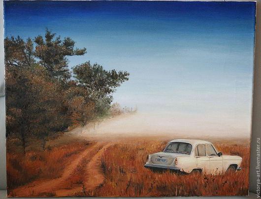 Пейзаж ручной работы. Ярмарка Мастеров - ручная работа. Купить Пейзаж в стиле ретро. Handmade. Масло, холст, пейзаж, автомобиль