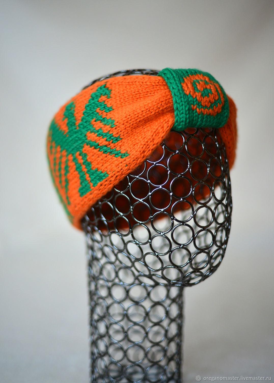 вязаная повязка-чалма с орнаментами майя оранжевый зеленый, Повязки, Новосибирск,  Фото №1