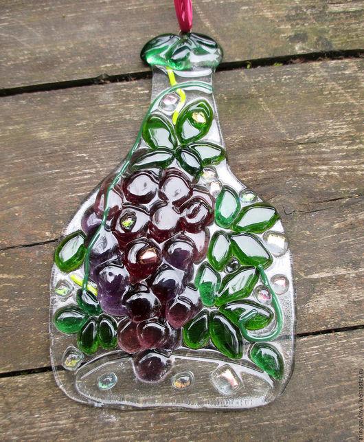 Подвески ручной работы. Ярмарка Мастеров - ручная работа. Купить Декор из стекла Веселые бутылки. Фьюзинг. Handmade. Комбинированный, для дачи