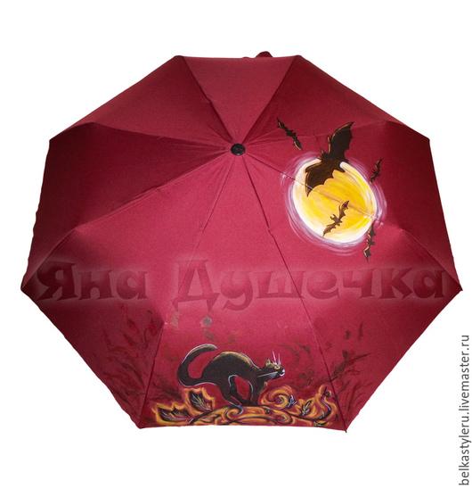 """Зонты ручной работы. Ярмарка Мастеров - ручная работа. Купить Зонт с ручной росписью """"Кот и летучие мыши"""". Handmade. Зонт"""