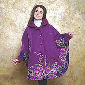 Одежда ручной работы. Ярмарка Мастеров - ручная работа Пальто-пончо Спелая слива. Handmade.