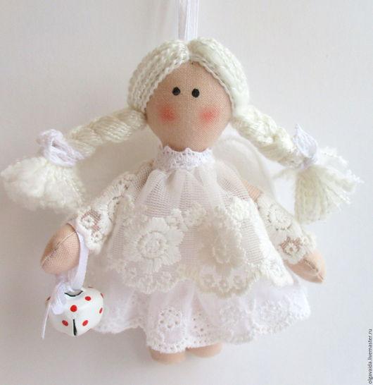 Ангелочек текстильный белоснежный ручная работа купить подарок на именины крестины Ярмарка мастеров handmade Ольга Вайда