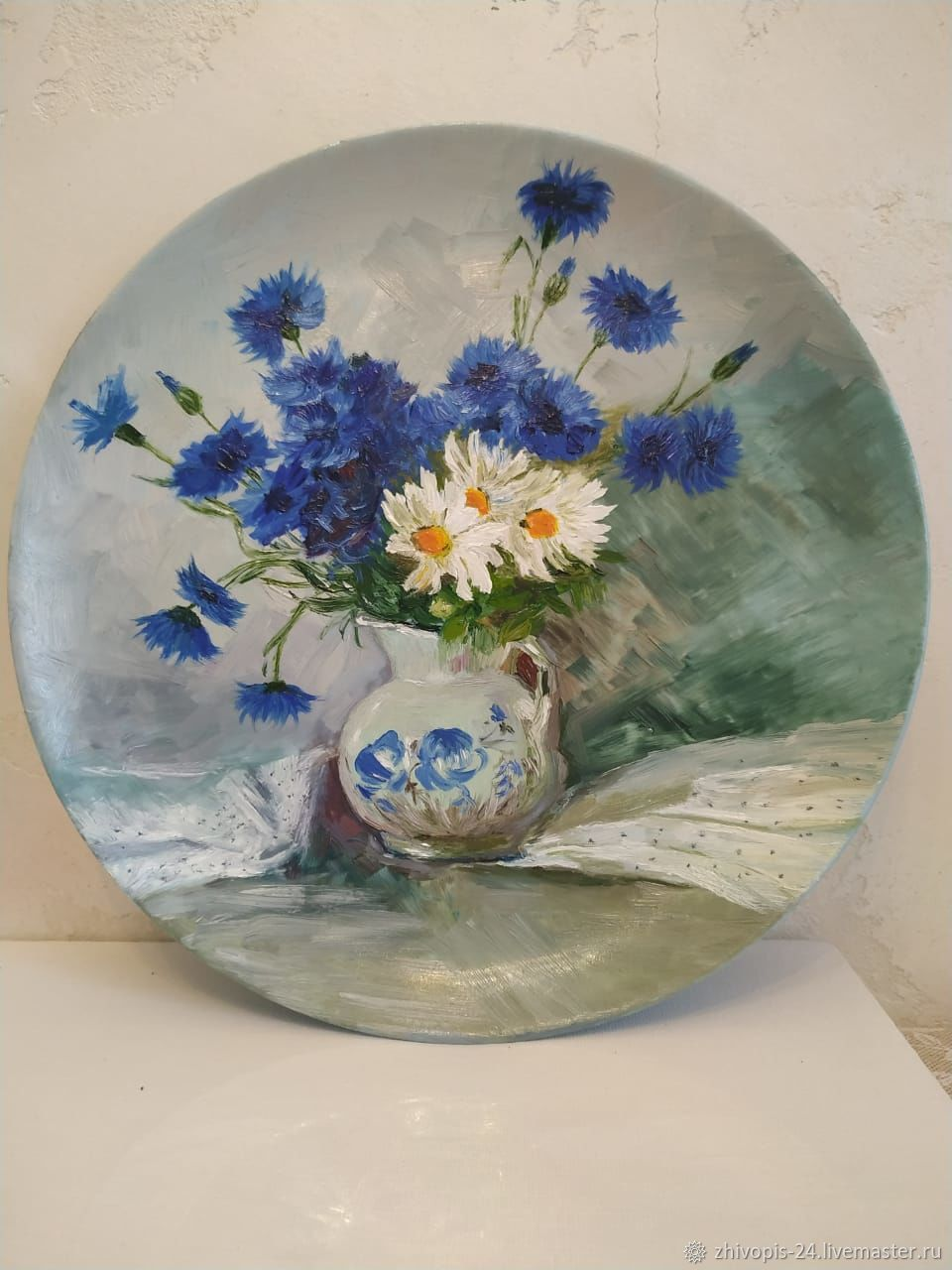 Plates decorative: Decorative plate, bouquet of wild flowers oil, Decorative plates, Moscow,  Фото №1