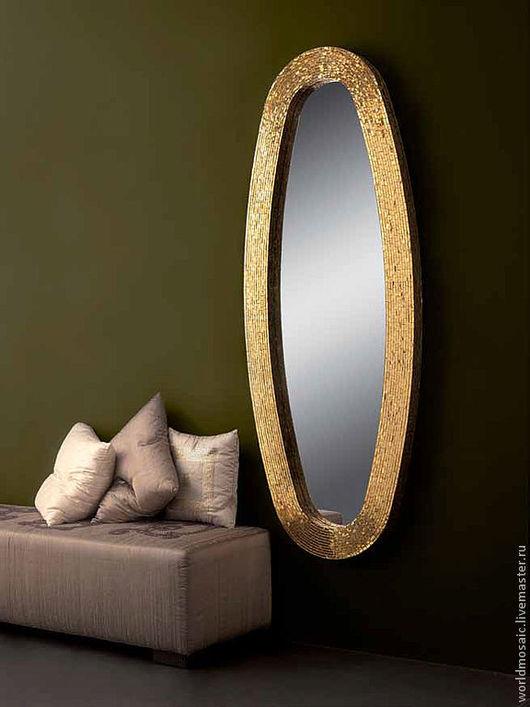Зеркала ручной работы. Ярмарка Мастеров - ручная работа. Купить Зеркало в мозаичной раме, золотой овал. Handmade. Золотой