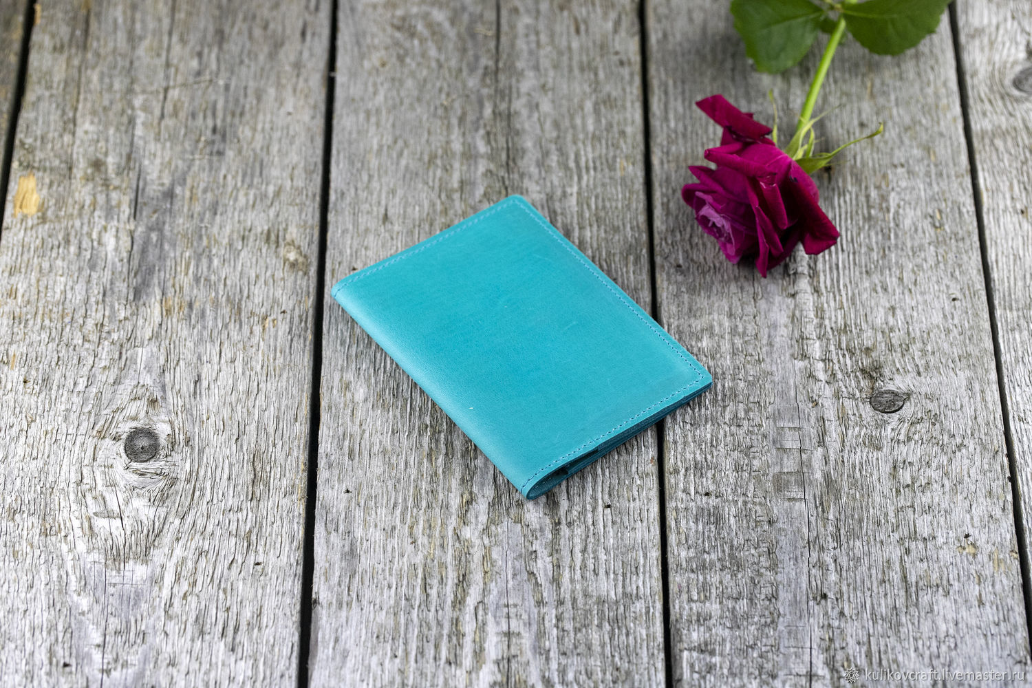 Leather passport cover in Tiffany color, Passport cover, Moscow,  Фото №1