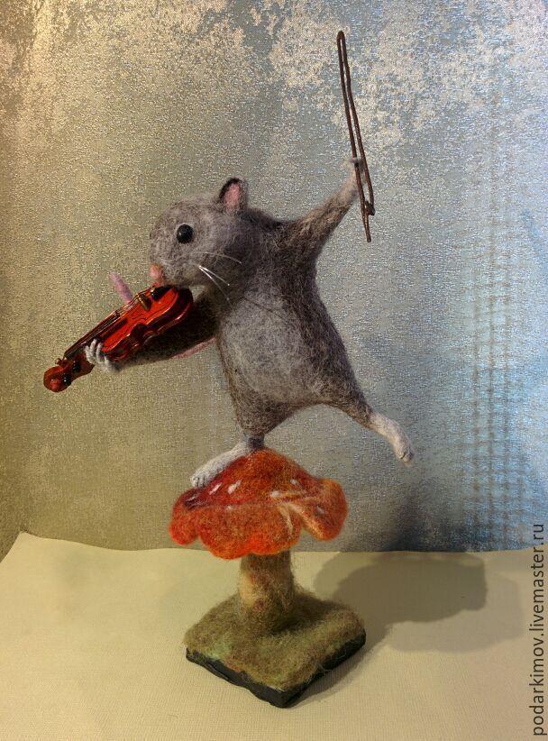 """Валяная Мышка со скрипкой. Скульптура из войлока """"Музыкант"""", Войлочная игрушка, Санкт-Петербург,  Фото №1"""