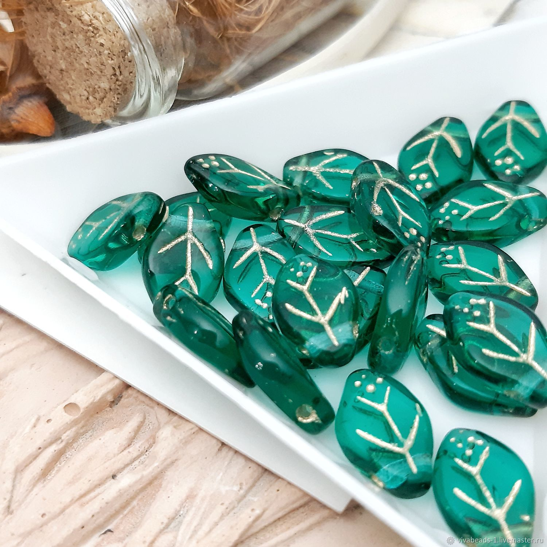 Leaf bead 7h12 mm Emerald Czech Republic (2283-1), Beads1, Voronezh,  Фото №1