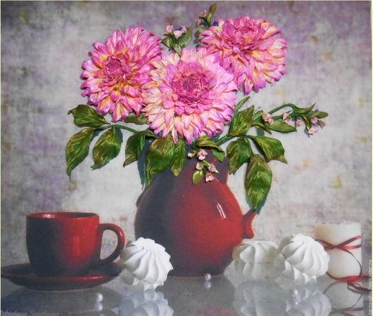 Картины цветов ручной работы. Ярмарка Мастеров - ручная работа. Купить Натюрморт Розовые георгины и зефир. Handmade. Комбинированный