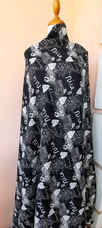 Ткань штапель 3D черный Nice, Ткани, Москва,  Фото №1