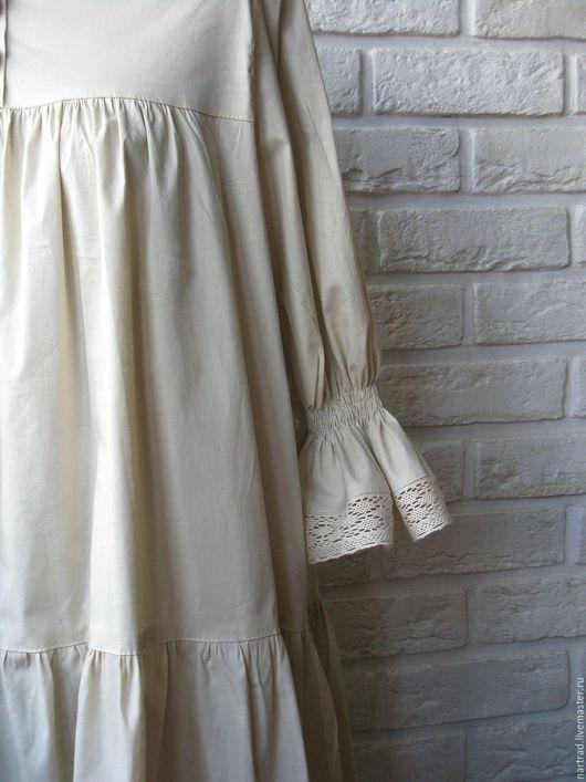 Платья ручной работы. Ярмарка Мастеров - ручная работа. Купить Нижнее платье из хлопка. Handmade. Платье бохо, бежевый