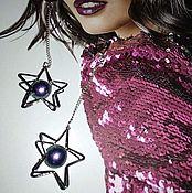 Украшения handmade. Livemaster - original item Disco star cotton pearl earrings. Handmade.