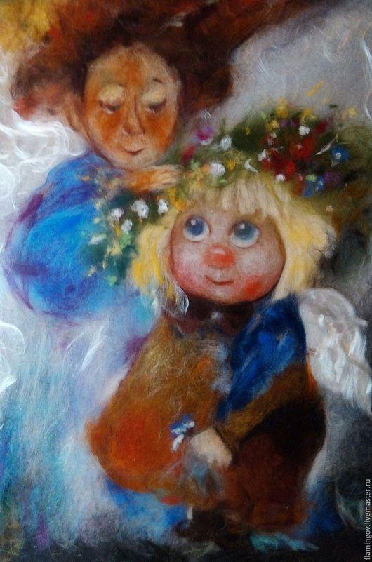 """Фантазийные сюжеты ручной работы. Ярмарка Мастеров - ручная работа. Купить Картина из шерсти """"Веснушка"""". Handmade. Голубой, шерстяная живопись"""