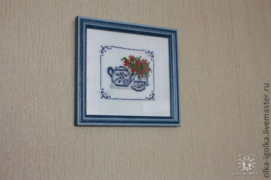 Натюрморт ручной работы. Ярмарка Мастеров - ручная работа. Купить Чаепитие-мини. Handmade. Синий, гжель, чайник, чашка с блюдцем