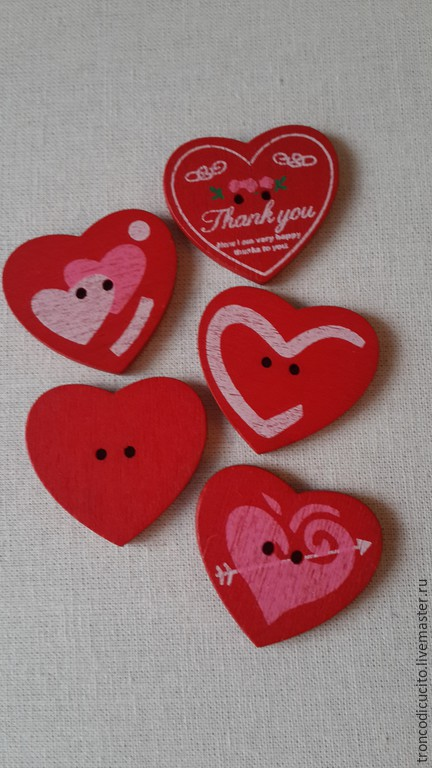 Шитье ручной работы. Ярмарка Мастеров - ручная работа. Купить Пуговицы сердечки. Handmade. Ярко-красный, пуговицы, пуговицы декоративные