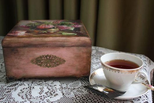 """Кухня ручной работы. Ярмарка Мастеров - ручная работа. Купить Шкатулка для чая """"Букет гортензий"""". Handmade. Розовый, подарок на новоселье"""