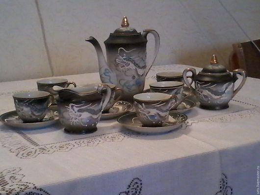 Сервизы, чайные пары ручной работы. Ярмарка Мастеров - ручная работа. Купить Кофейный сервиз «Дракон» (светлый) Япония. Handmade.