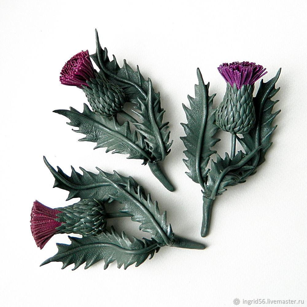 Брошь из натуральной кожи Чертополох серо-зеленый с лиловым – заказать на Ярмарке Мастеров – L5GM4RU | Брошь-булавка, Оренбург