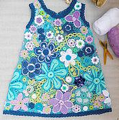 Работы для детей, ручной работы. Ярмарка Мастеров - ручная работа Кружевное платье на девочку 2 лет  цветочное яркое воздушное. Handmade.