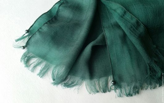 Шарфы и шарфики ручной работы. Ярмарка Мастеров - ручная работа. Купить Кашемировый шарф сине-зеленый батик (саржа). Handmade.