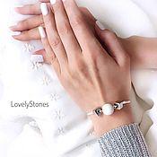 Украшения handmade. Livemaster - original item Chess bracelet on a chain with white agate and gray-silver hematite. Handmade.