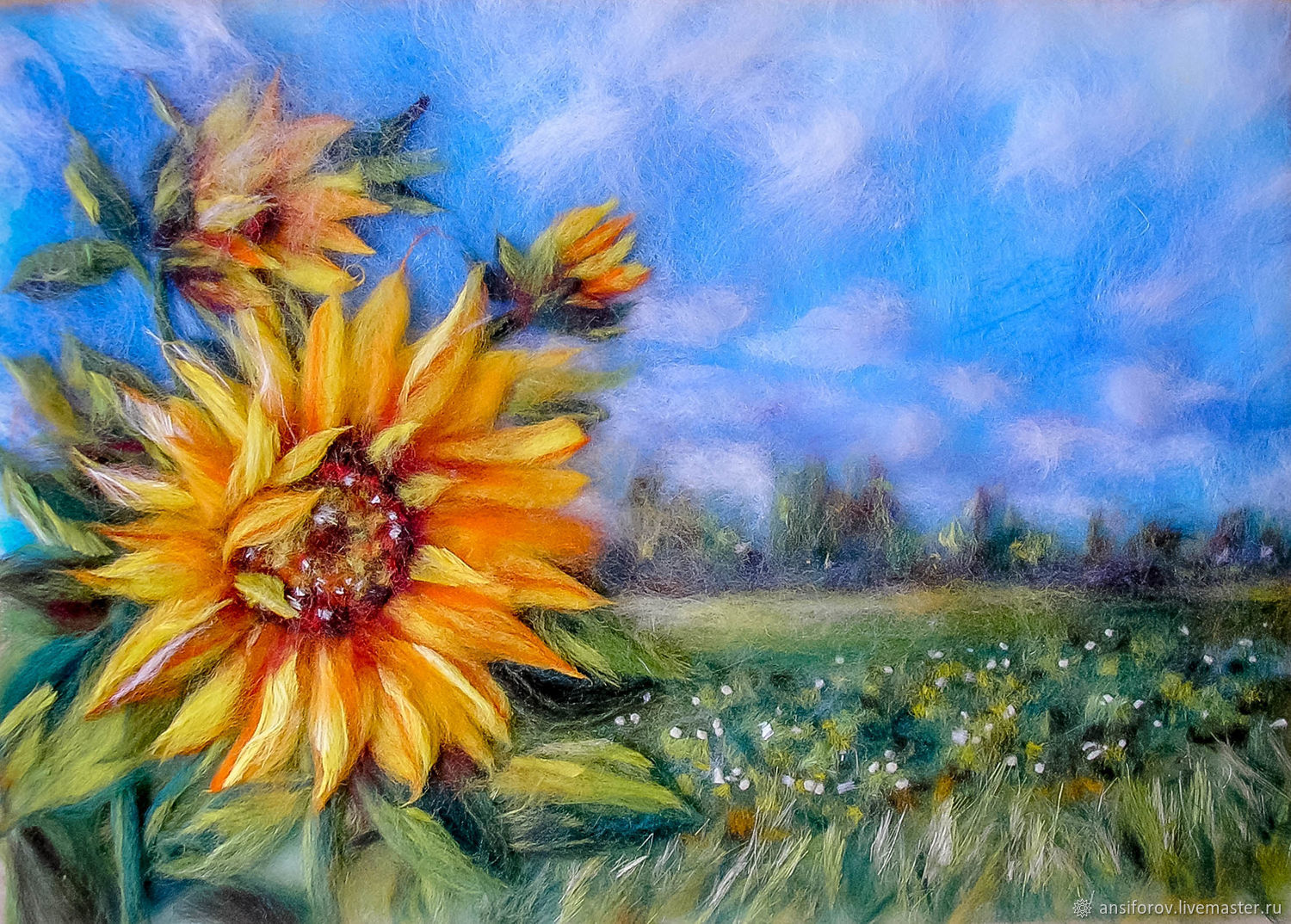 Picture of wool Sunflowers in the field, Pictures, Engels,  Фото №1