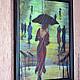 """Люди, ручной работы. Картина из шерсти """"Она уходила в дождь"""" по картине Лоррэйн Кристи.. Светлана Желяева. Картины из шерсти. Ярмарка Мастеров."""