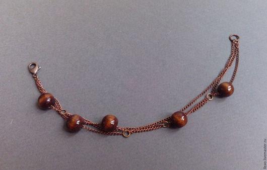 Браслеты ручной работы. Ярмарка Мастеров - ручная работа. Купить Медный браслет. Handmade. Медный, медный браслет, деревянные бусины