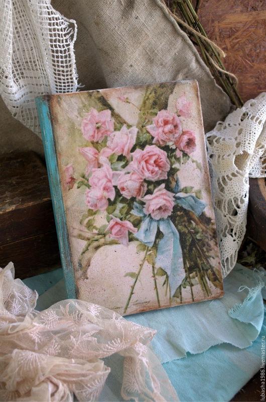 """Блокноты ручной работы. Ярмарка Мастеров - ручная работа. Купить """" Розовый букет"""" Блокнот для вдохновения. Handmade. Тёмно-бирюзовый"""