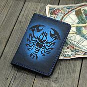 Сумки и аксессуары handmade. Livemaster - original item Leather passport cover with the Zodiac Cancer pattern. Handmade.