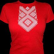 """Народные рубахи ручной работы. Ярмарка Мастеров - ручная работа Футболка с вышивкой """"Макошь"""". Handmade."""