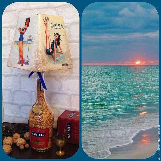 """Персональные подарки ручной работы. Ярмарка Мастеров - ручная работа. Купить """"А ты стоишь на берегу в синем платье..."""" Лампа. Handmade."""