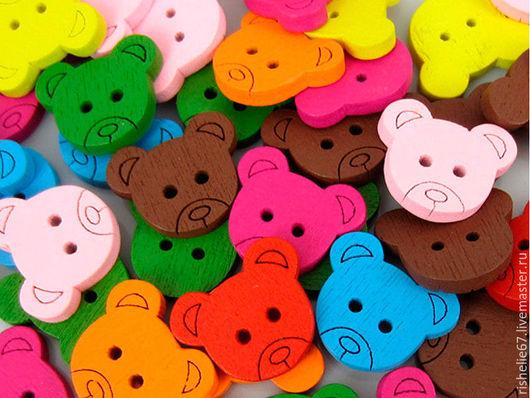 """Шитье ручной работы. Ярмарка Мастеров - ручная работа. Купить Деревянная пуговица """"медведь"""". Handmade. Комбинированный, пуговицы декоративные"""